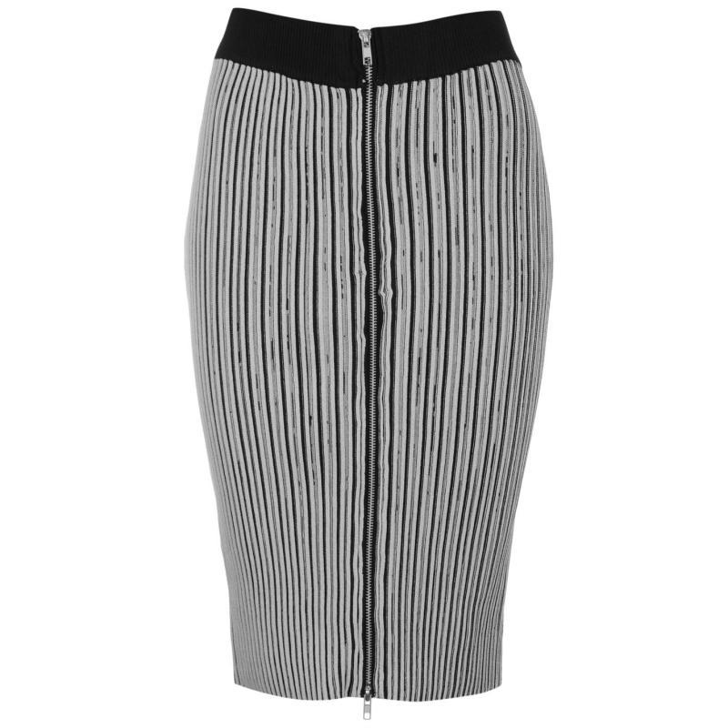 Sukně Glamorous Rib Zip Skirt Grey