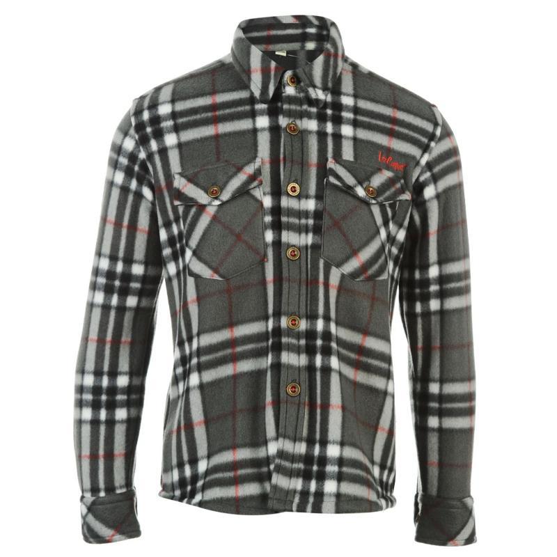 Košile Lee Cooper Long Sleeve Check Shirt Junior Charcoal/Black