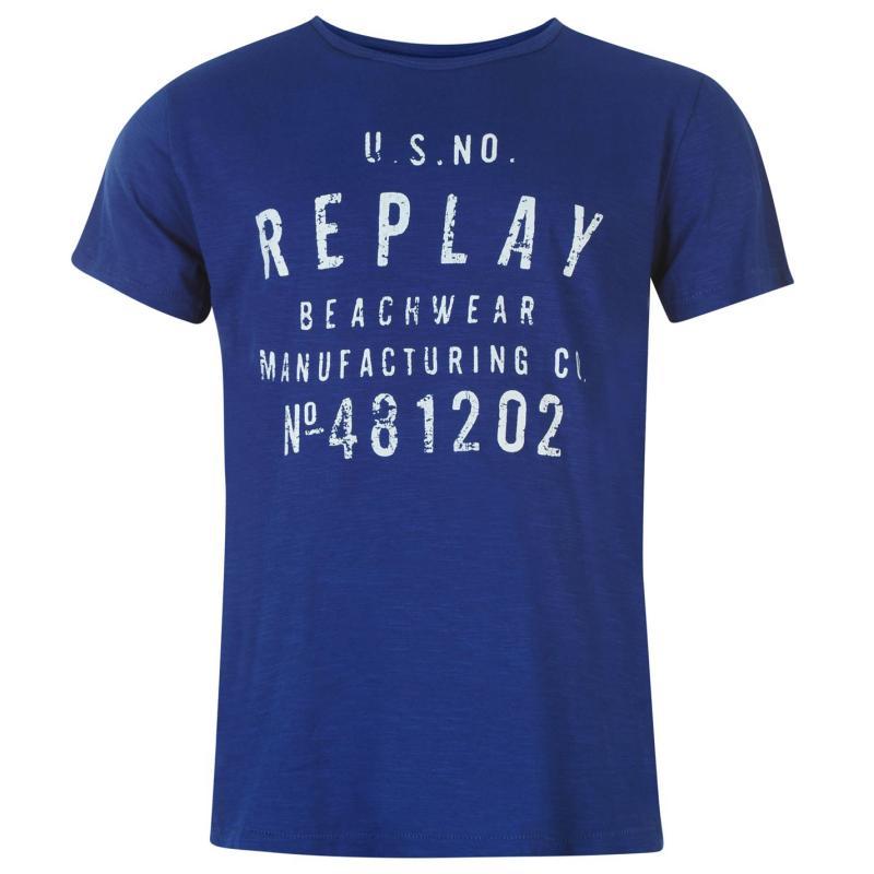 Tričko Replay Beachwear T Shirt Mens Marabella, Velikost: S