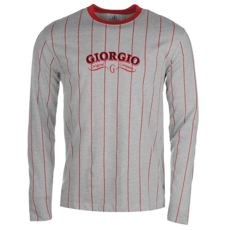 Giorgio Retro Long Sleeve TShirt Mens Grey Marl/Burg