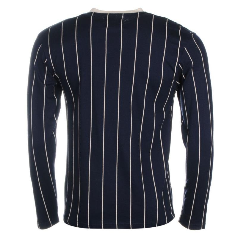 Giorgio Retro Long Sleeve TShirt Mens Navy/Grey Marl