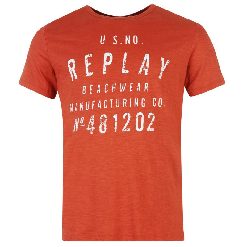 Tričko Replay Beachwear T Shirt Mens Blue, Velikost: S