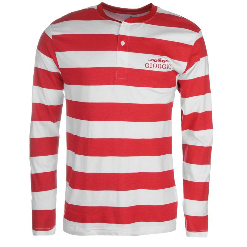 Giorgio Retro Long Sleeve TShirt Mens White/Red