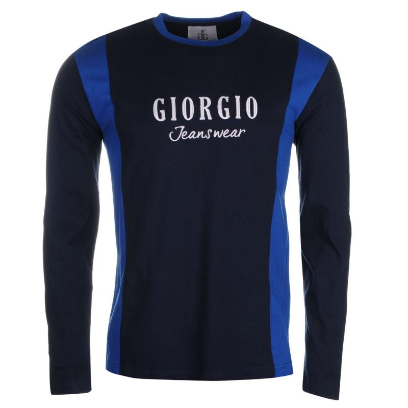 Giorgio Retro Long Sleeve TShirt Mens Navy/Blue