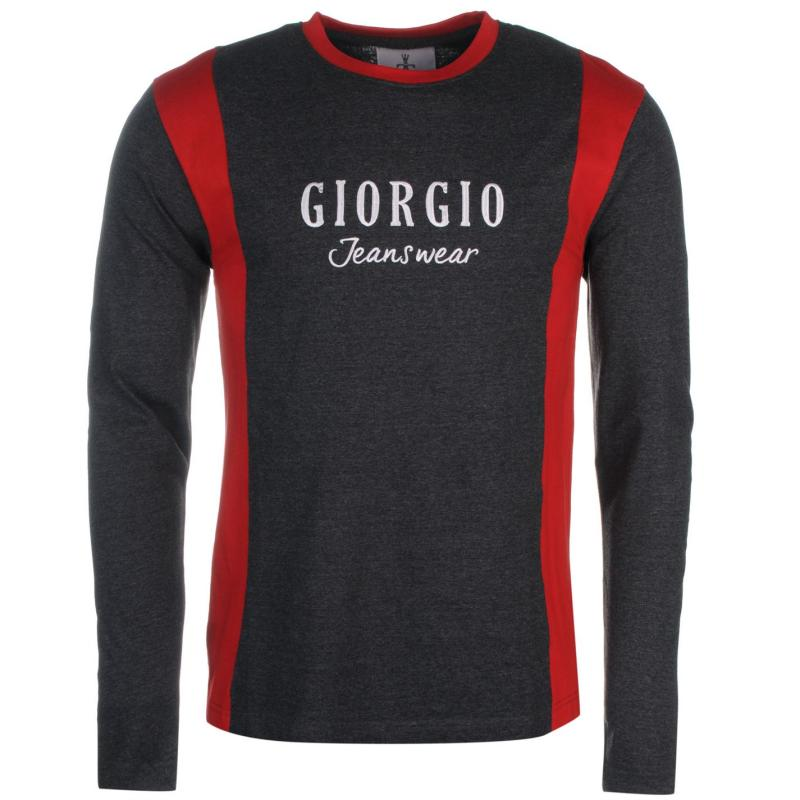 Giorgio Retro Long Sleeve TShirt Mens Char M/Burg