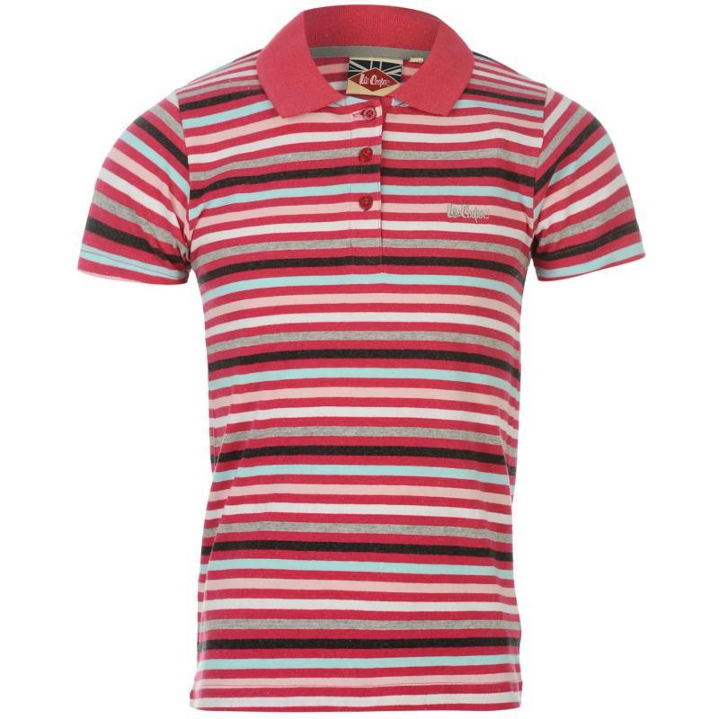 Lee Cooper Yarn Dye Stripe Polo Girls Pink Multi
