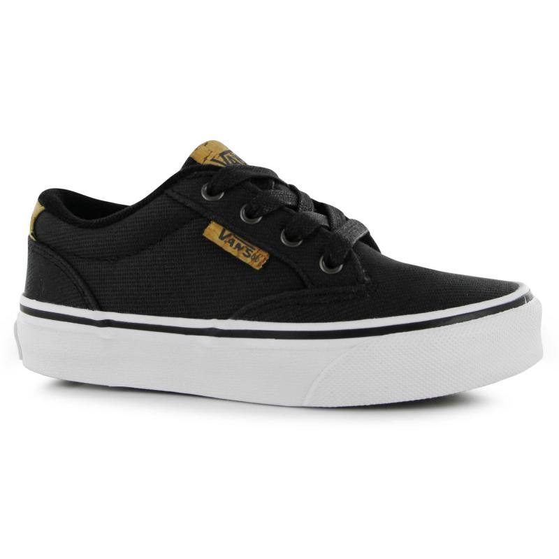 Boty Vans Winston Junior Boys Canvas Shoes Black Twill