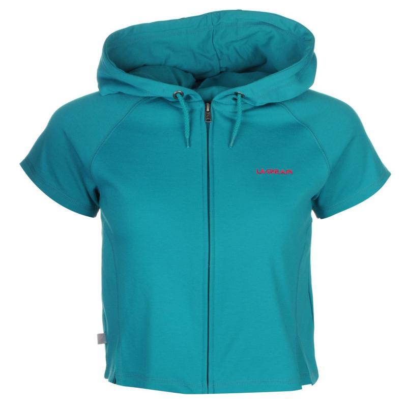 Mikina s kapucí LA Gear Interlock Cap Sleeve Zip Top Womens Teal