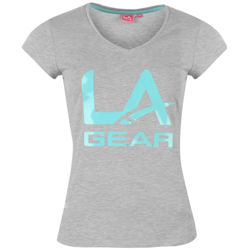 LA Gear Large Logo V Neck T Shirt Ladies Purple