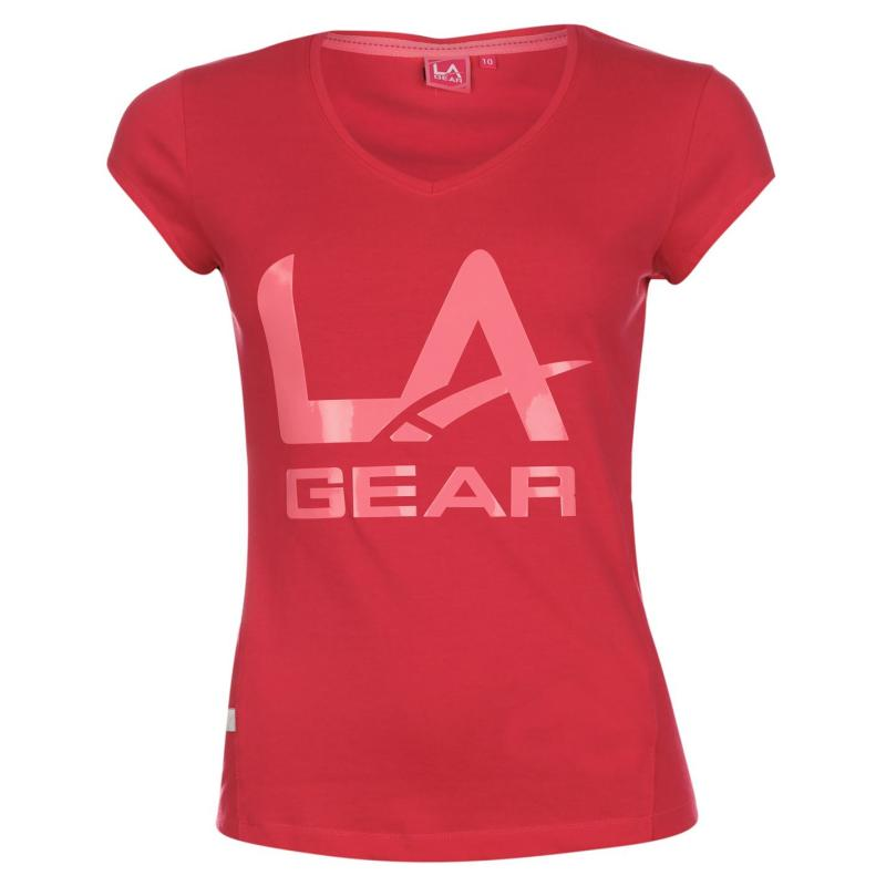 LA Gear Large Logo V Neck T Shirt Ladies Purple