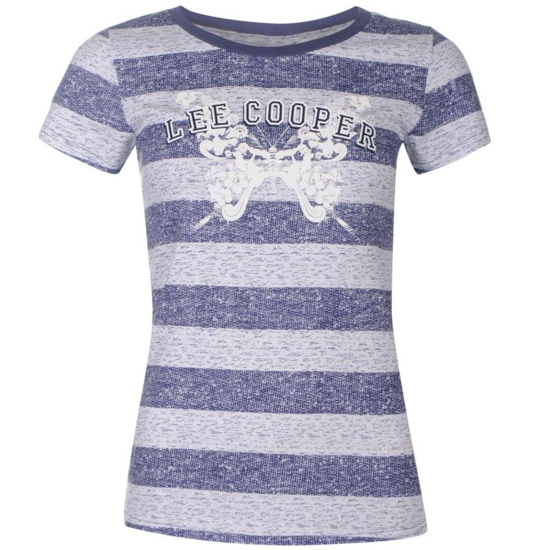 Lee Cooper Textured All Over Print T Shirt Ladies Navy/Blue