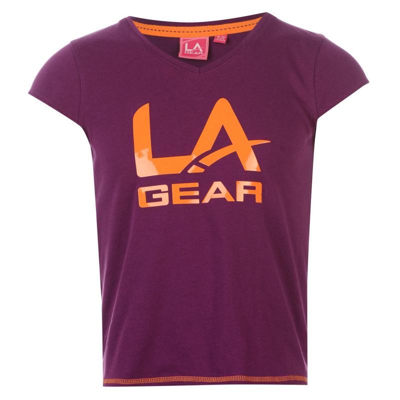 LA Gear Large Logo V Neck TShirt Girls Purple