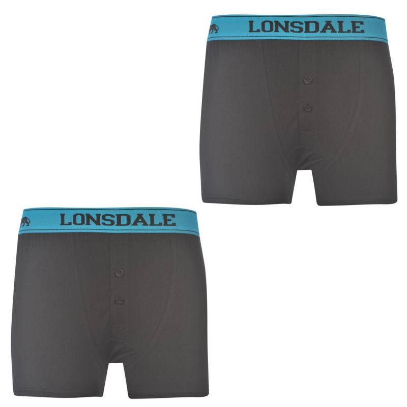 Bunda Lonsdale 2 Pack Boxers Junior White/Brt Blue