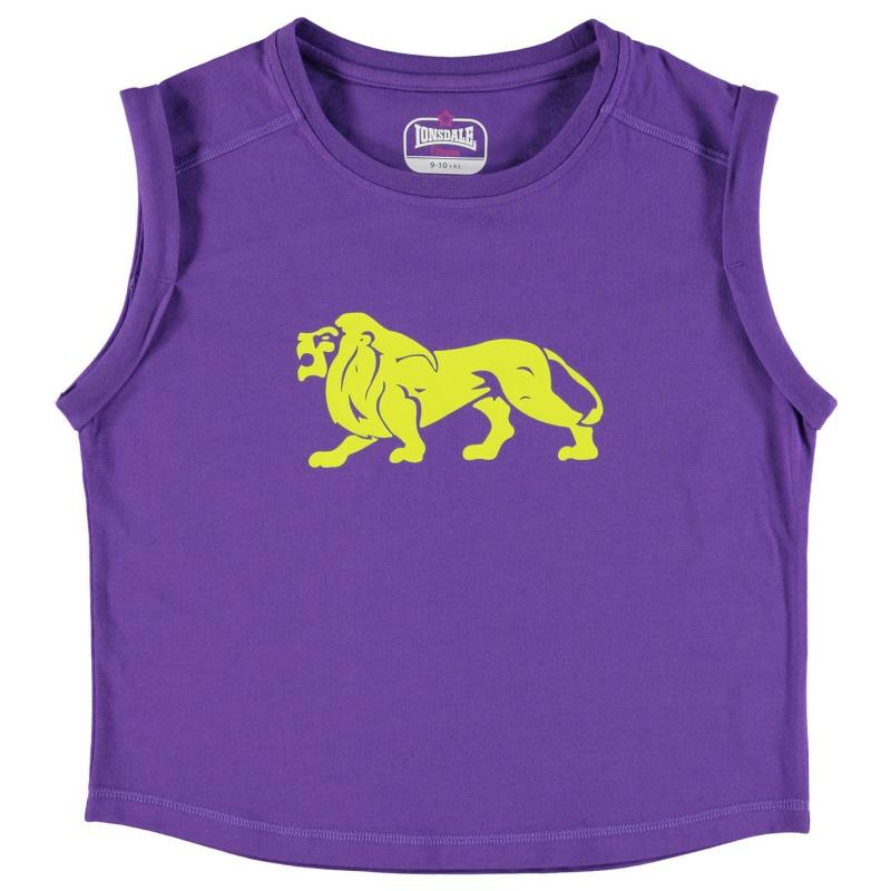 Lonsdale Boxy T Shirt Junior Girls Purple