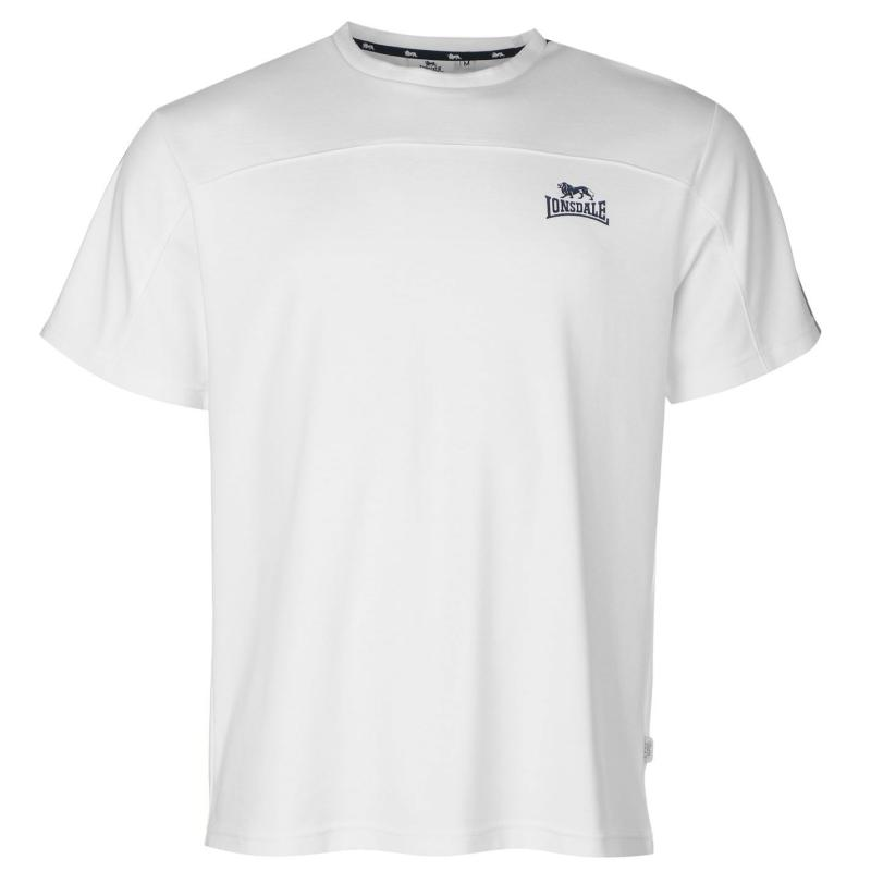 Tričko Lonsdale 2 Stripe Short Sleeve T Shirt Mens White/Navy