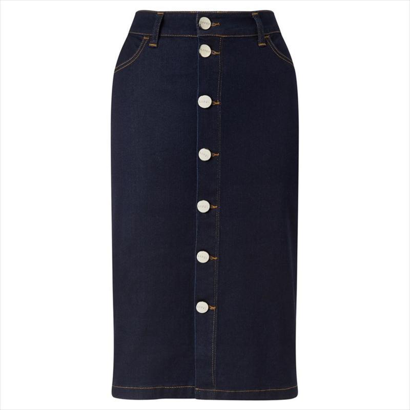 Sukně Lipsy Button Front Pencil Skirt Dark Wash