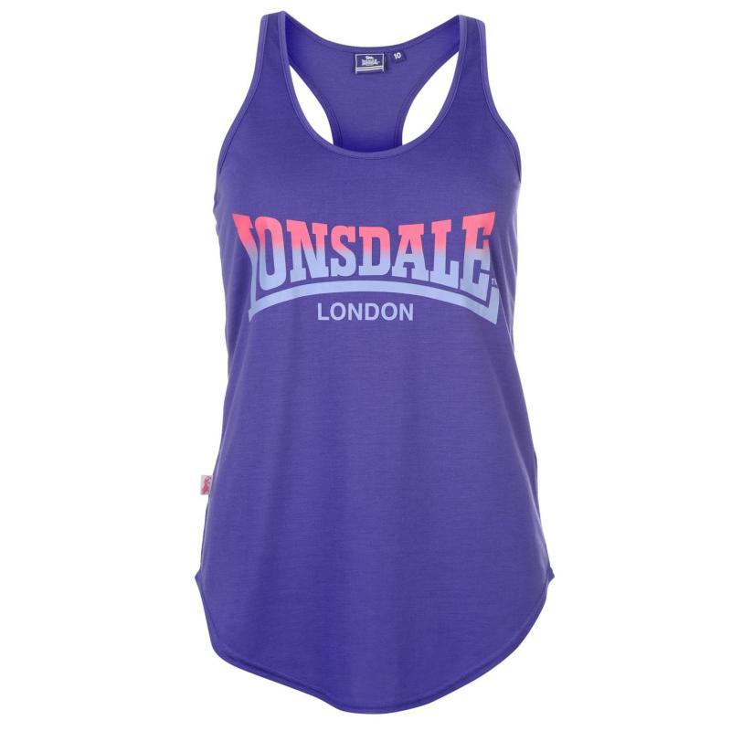Lonsdale Logo Vest Top Ladies Dk Purple/Blue