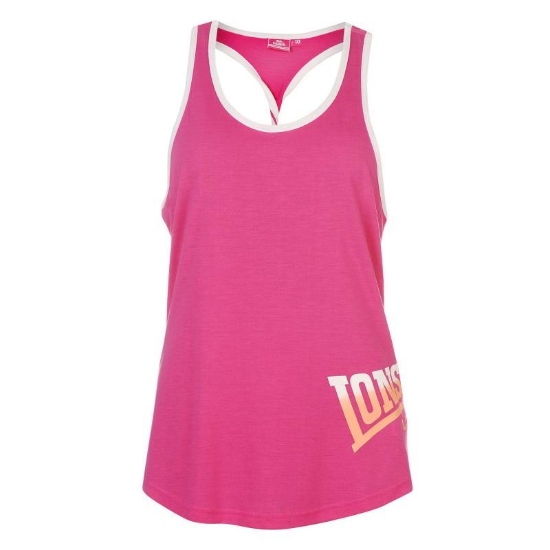 Lonsdale Racer Back Vest Ladies Pink/Wht/Coral