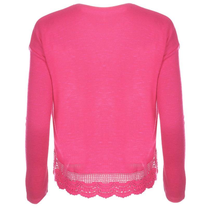 Svetr Lee Cooper Lace Knit Jumper Womens Fuchsia