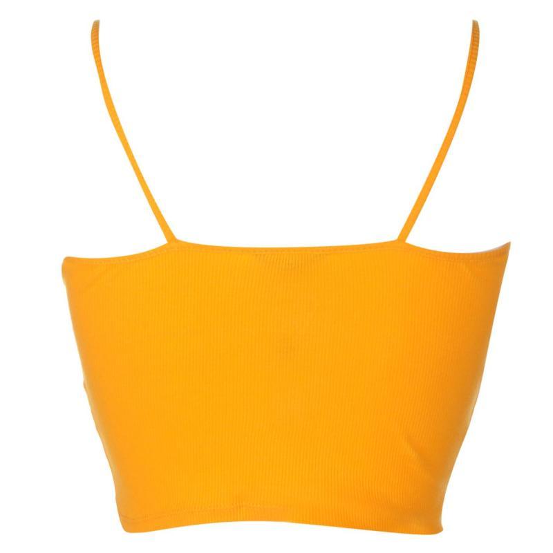 Miso Crop Strap Vest Ladies Saffron Yellow