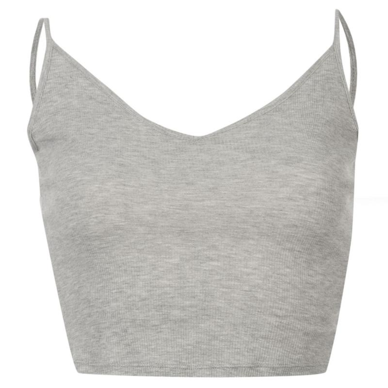 Miso Crop Strap Vest Ladies Grey Marl