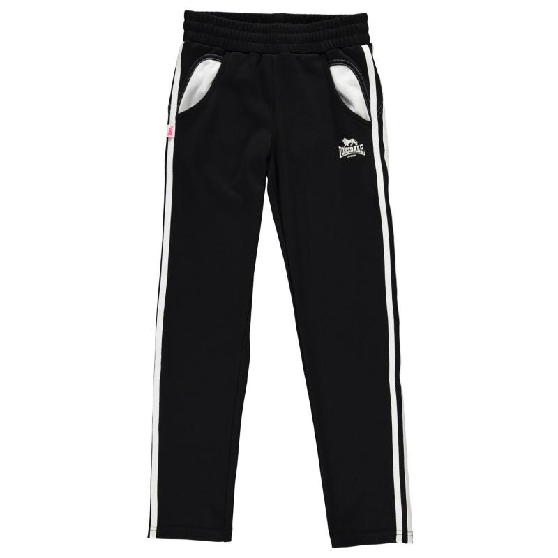 Lonsdale 2 Stripe Sweat Pants Girls Black/White