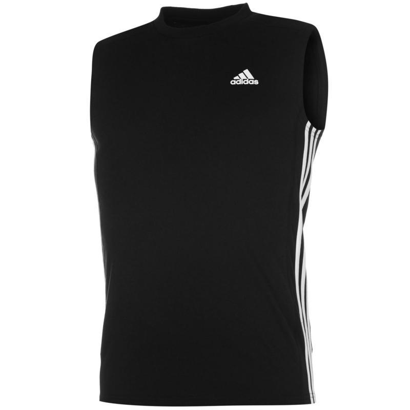 Tílko adidas Three Stripe Sleeveless Tshirt Mens Black/White