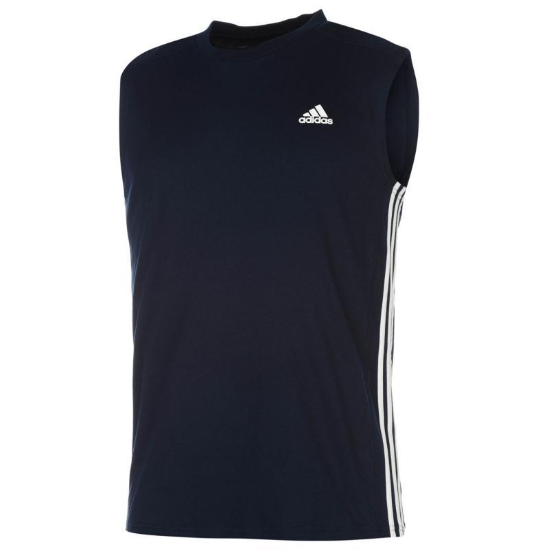 Tílko adidas Three Stripe Sleeveless Tshirt Mens Navy/White