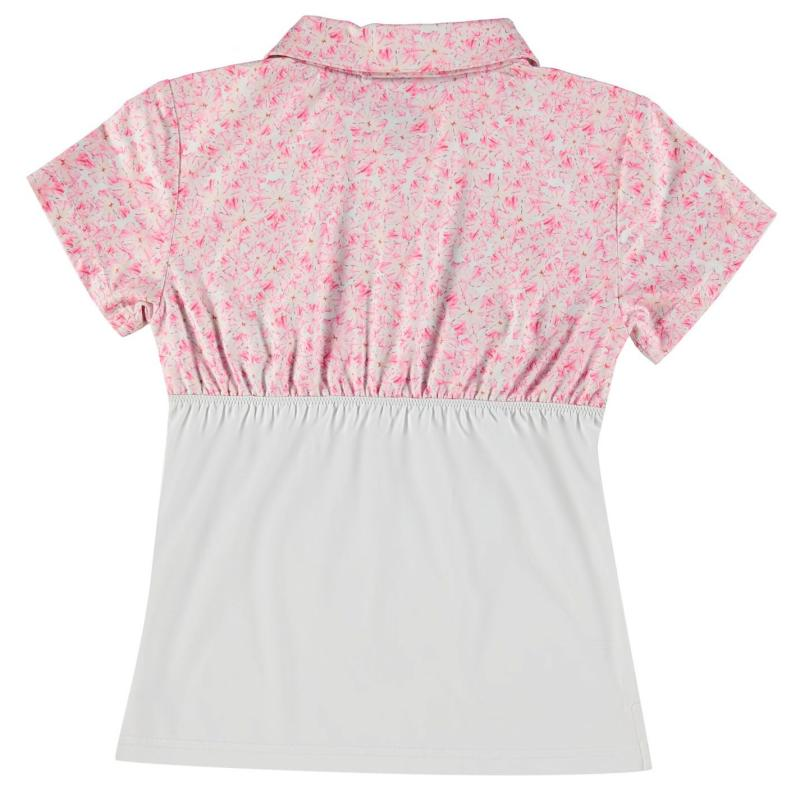 Slazenger Golf Polo Junior Girls White/Pink