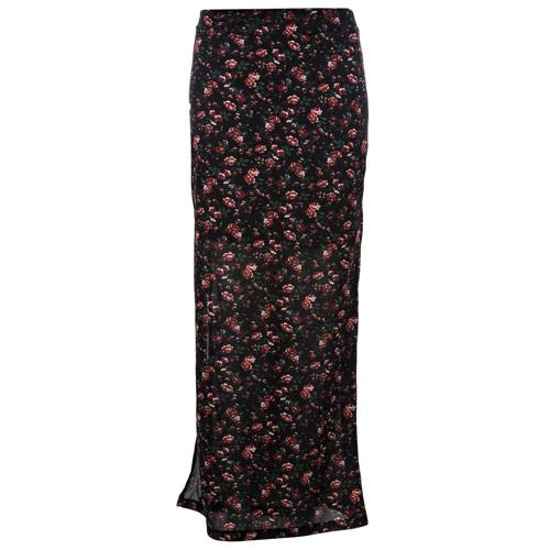 Sukně Only Womens Gerda Long Slit Rose Print Skirt Black