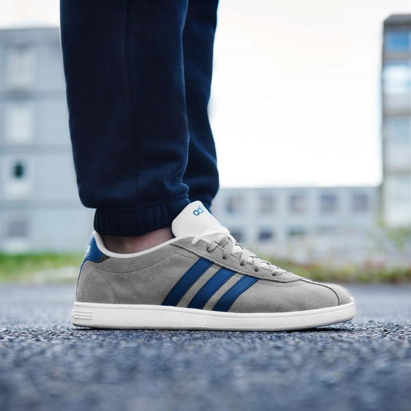 Boty adidas VL Neo Court Suede Trainers Mens Grey/Navy/Wht, Velikost: UK6 (euro 39)