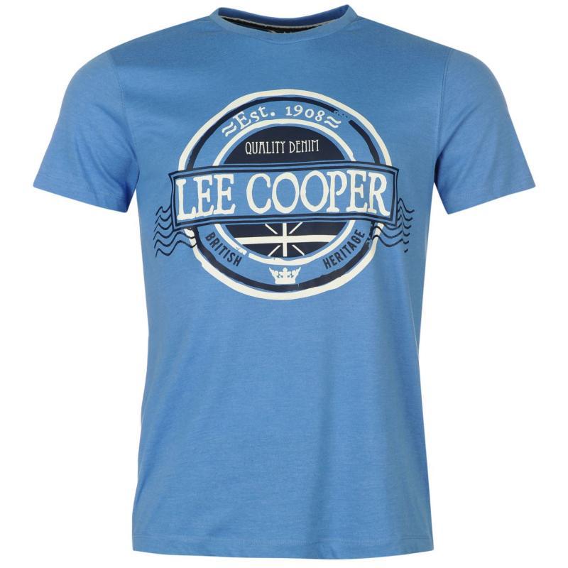 Tričko Lee Cooper Marl Retro Tshirt Mens Blue Marl