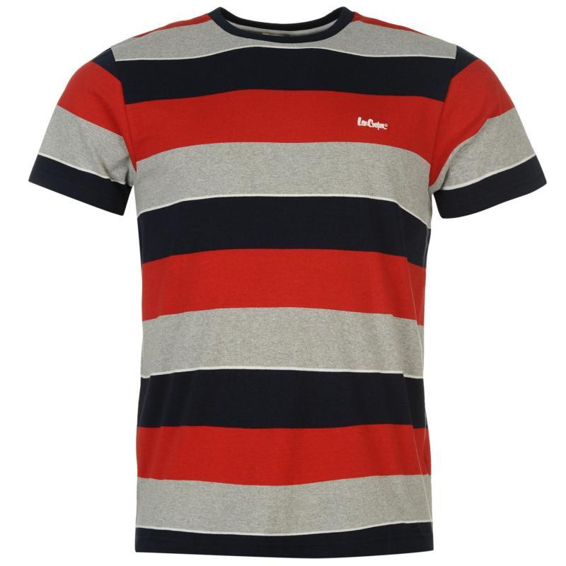 Tričko Lee Cooper Yarn Dye Crew Tshirt Mens Red/Navy/Grey M