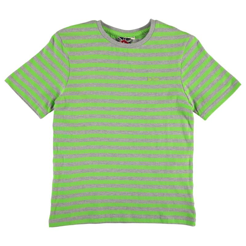 Tričko Lee Cooper Cooper Crew T Shirt Junior Boys Grey M/Lime