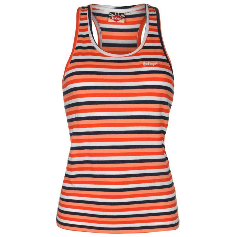 Lee Cooper Yarn Dye Vest Womens Coral/Denim/Wht