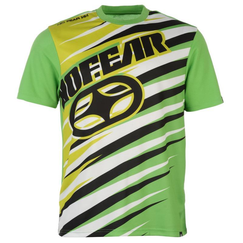 Tričko No Fear Subject TShirt Mens Button Lime