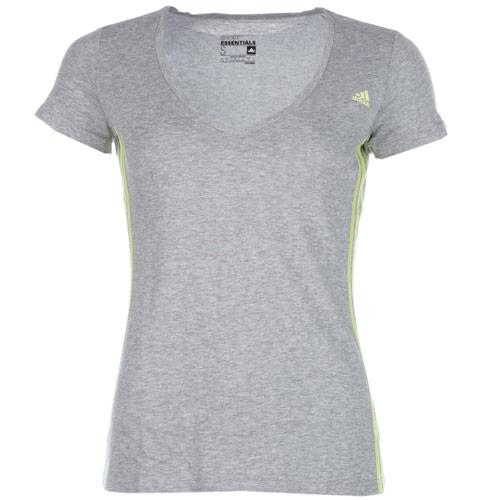 Adidas Womens Essentials Mid 3 Stripes T-Shirt Grey Marl, Velikost: 16 (XL)