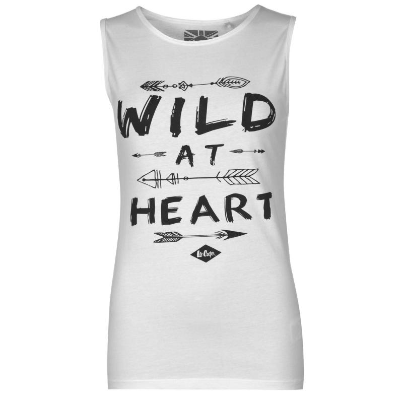 Lee Cooper Wild at Heart Graphic Tank Top Ladies White