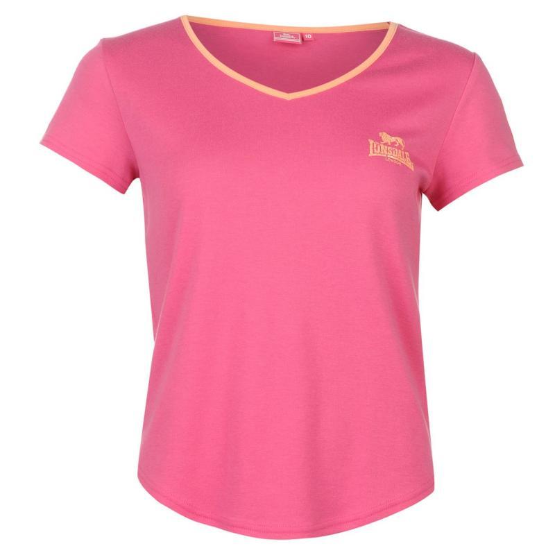 Lonsdale 2 Stripe V Neck T Shirt Ladies Pink/Wht/Coral