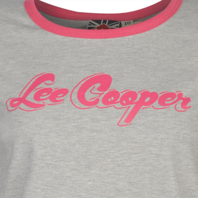 Lee Cooper Retro Ringer T shirt Ladies Grey Marl