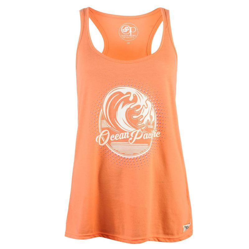 Ocean Pacific Graphic Long Vest Ladies Coral