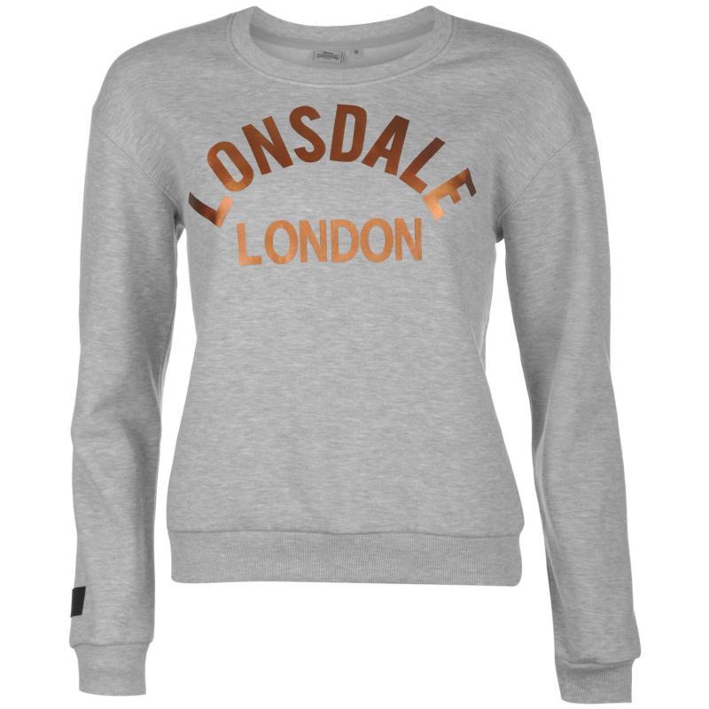 Svetr Lonsdale Crew Neck Sweatshirt Ladies Grey Marl