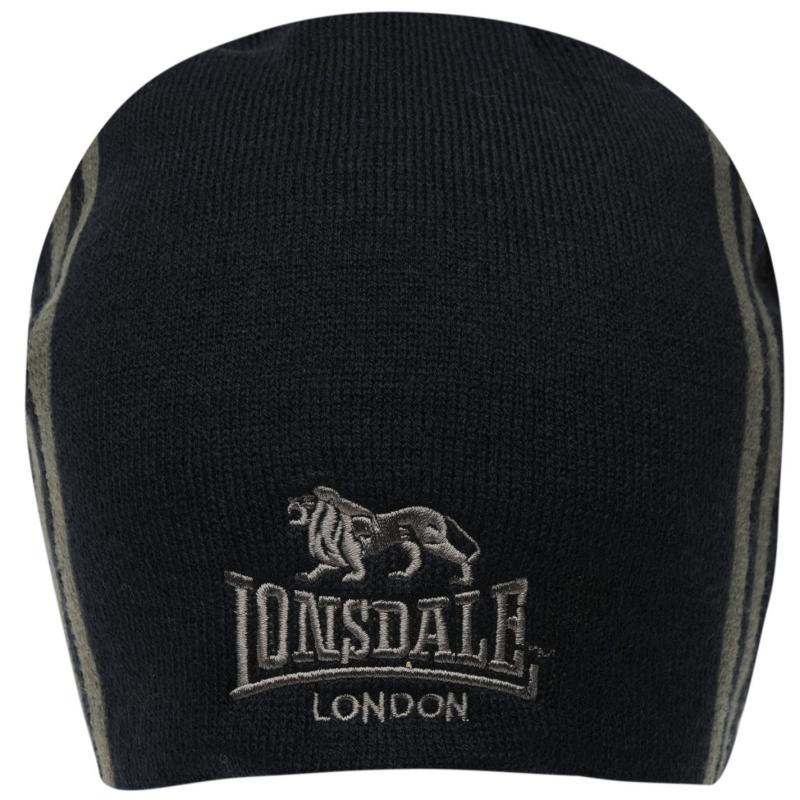Lonsdale Two Stripe Hat Mens Charcoal