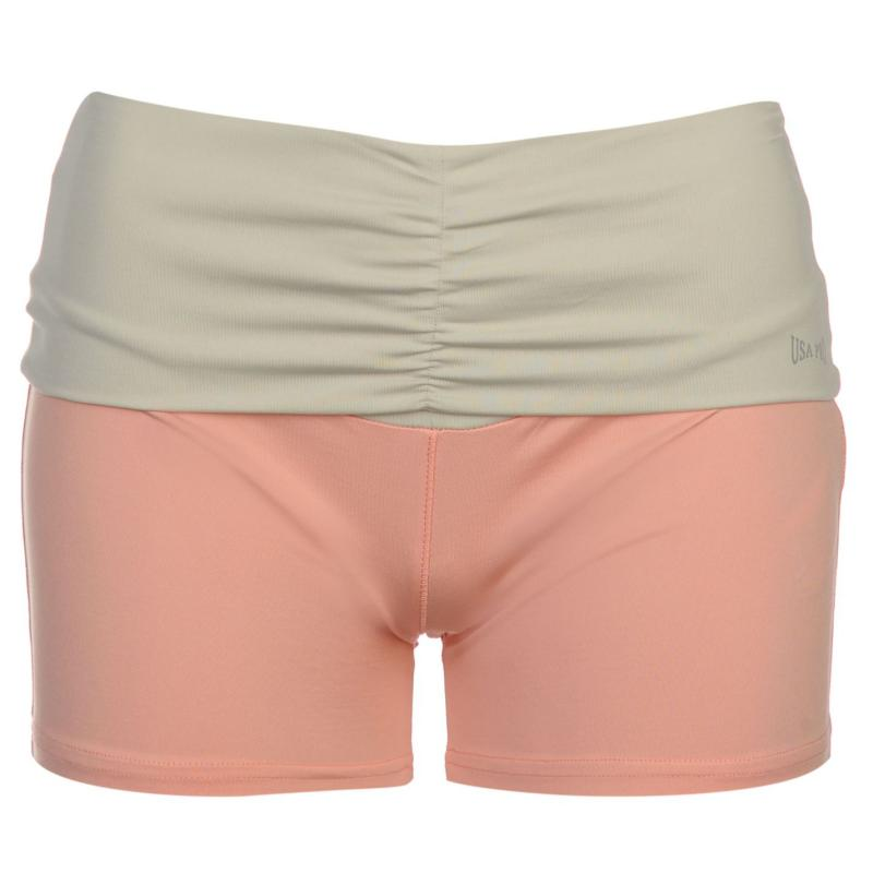 USA Pro Fold Over Shorts Ladies Peach/Stone