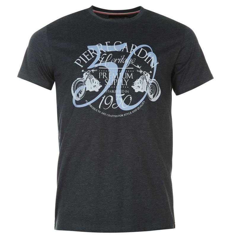 Tričko Pierre Cardin Print T Shirt Mens Denim Marl