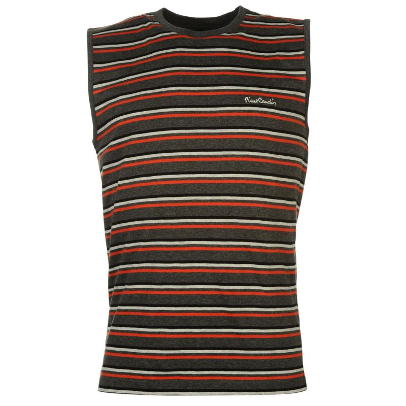 Tílko Pierre Cardin Yarn Dye Sleeveless Tshirt Mens Black