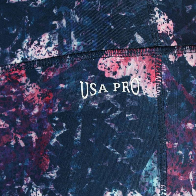 USA Pro Three Quarter Leggings Charcoal Waves