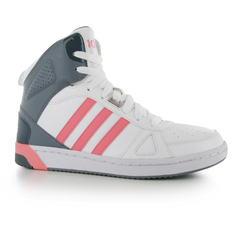 adidas Hoops Team Mid Ladies Trainers White/Ray Pink