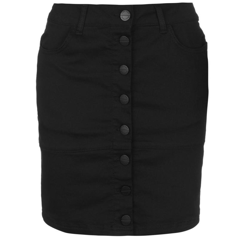 Šaty Firetrap Blackseal Denim Mini Skirt Black
