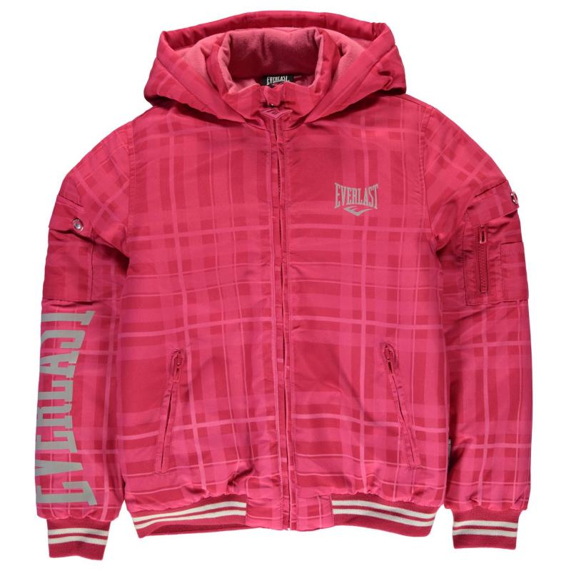 Everlast Hooded Bomber Jacket Junior Girls Pink
